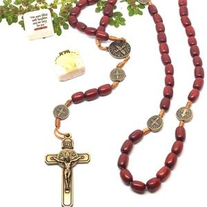 Men's Large Wooden St Benedict Medals Rosary